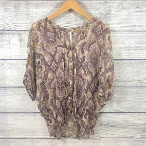 Willow and Clay sheer floral patterned blouse